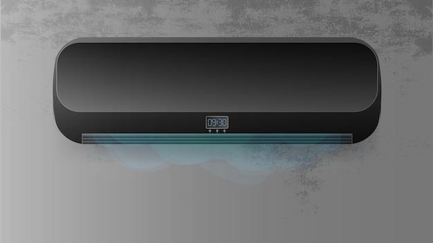 콘크리트 벽에 검은색 에어컨. 현실적인 에어컨 벡터입니다.