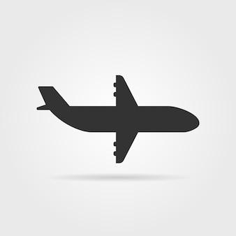 影付きの黒い飛行機アイコンの側面図。飛行機のコックピット、飛行機の画像、滑走路の概念。灰色の背景に分離された飛行機。フラットスタイルトレンド現代飛行機ロゴデザインベクトルイラスト