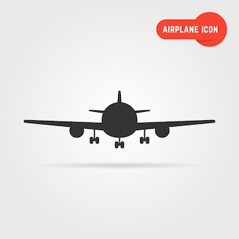 Black airplane icon with shadow. concept of airplane cockpit, airplane image, airplane view. airplane icon isolated on gray background. flat style trend modern airplane logo design vector illustration
