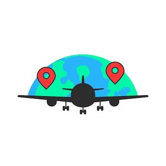 글로벌 항공사 같은 검은 비행기. 관광 휴가, 여행, 전세, 속도, 이륙, 항해, 날개의 개념. 흰색 배경에 평면 스타일 현대 로고 그래픽 디자인 벡터 일러스트 레이 션