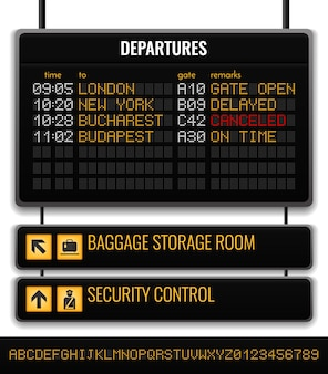 Black airport board realistic composition with baggage storage room and security control pointers illustration