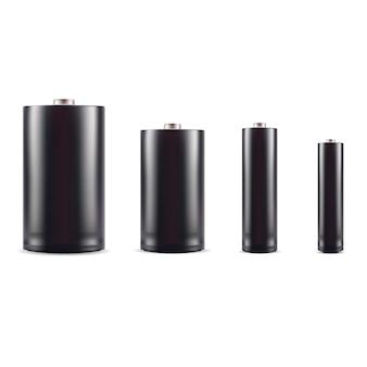 Black alkaline battery mockup set. 3d realistic
