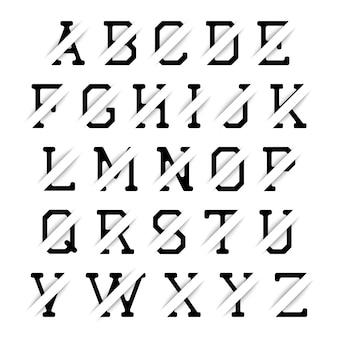 白い背景に影付きの黒いアルファベット。ベクトルイラスト。