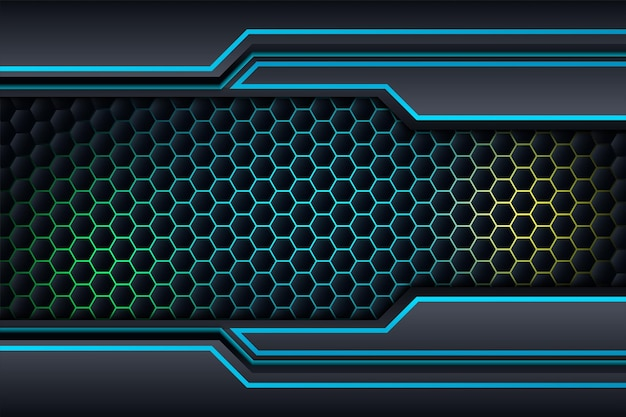 Черный и синий фон дизайн, шаблон корпоративного бизнеса технологии.