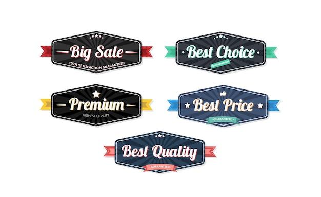 흰색 배경 일러스트 레이 션에 고립 된 검은 색과 파란색 쇼핑 및 소비 레이블 템플릿