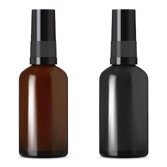 적기와 검은 색과 갈색 화장품 병입니다. 에센셜 오일 또는 노화 콜라겐을위한 세럼 스포이드 바이알