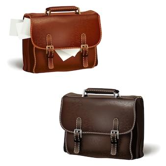 Черно-коричневые кожаные портфели