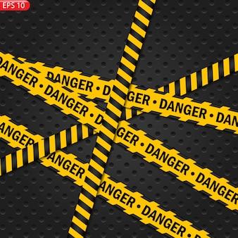 검정 및 색상주의 라인 절연입니다. 현실적인 경고 테이프. 위험 징후. 배경.