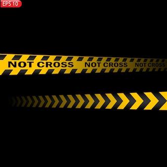 黒と色の注意線が分離されています。リアルな警告テープ。危険の兆候。バックグラウンド。