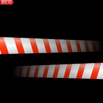 黒と色の注意線が分離された現実的な警告テープ危険標識