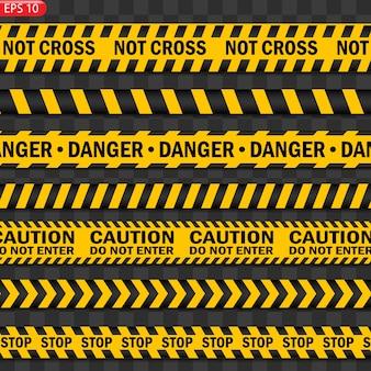 Изолированные черные и цветные линии предупреждения