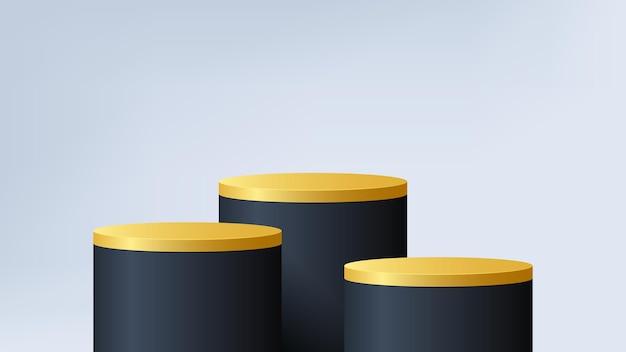 円筒形の黒と金の3d表彰台