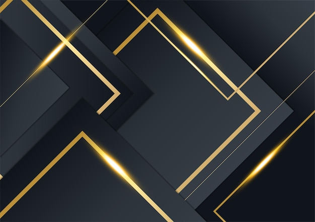 豪華でエレガントなプレミアム企業コンセプトのビジネスプレゼンテーションデザインテンプレートの黒と金の背景