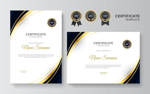 Черно-золотой сертификат достижения шаблона с золотым значком и рамкой. шаблон сертификата с золотым элементом украшения. выпускной диплом дизайнера, награждение. векторная иллюстрация