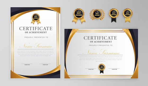 ビジネスと卒業証書テンプレートのバッジとボーダー付きの黒と金の証明書