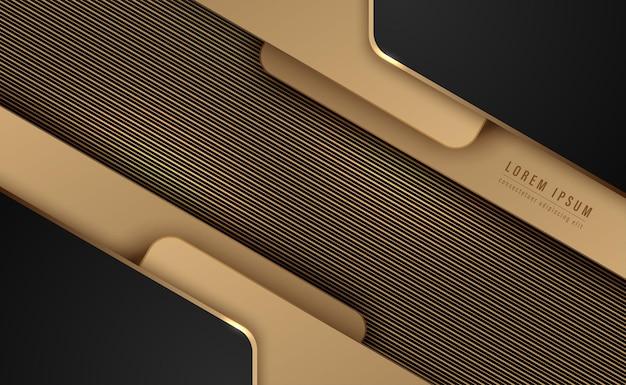 黒と金の装飾要素は、金色の線のストライプで背景を抽象化します