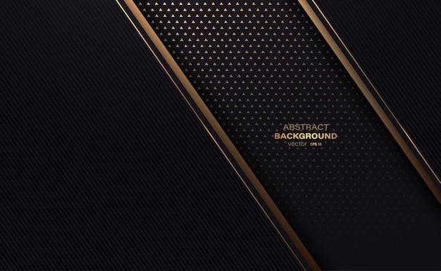 黒と金の装飾要素とラインは黄金三角形のパターンの背景とストライプ