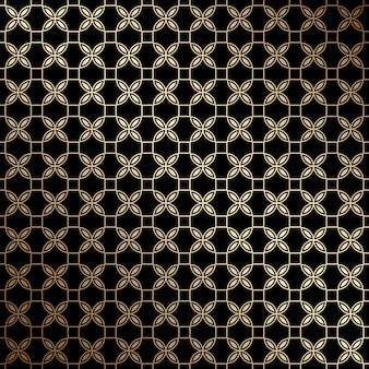 定型化された花、アールデコスタイルの黒と金の幾何学的なシームレスパターン