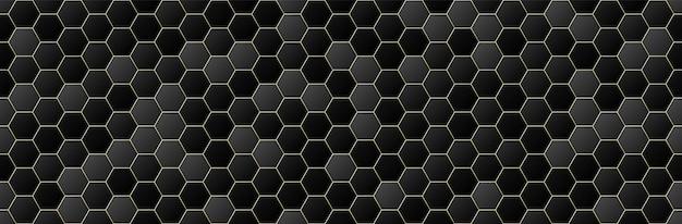黒と金のグラデーションカラー六角形のシームレスなパターンの背景、幾何学的な、最小限のデザインスタイル