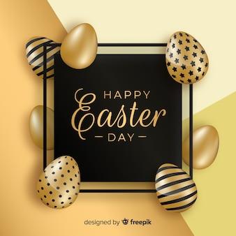 검정색과 금색 행복 한 부활절 날 배경