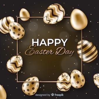 Черно-золотой счастливый пасхальный день Бесплатные векторы