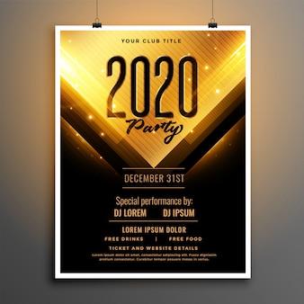 Черный и золотой дизайн шаблона флаера партии с новым годом