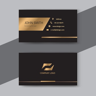 검정색과 금색 고급 명함 서식 파일 디자인.