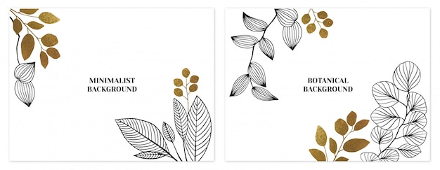Черно-золотой минималистичный набор цветочных фонов