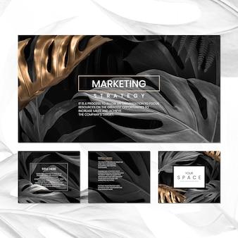 黒と金のモンステラの葉模様のソーシャルメディアテンプレートセット