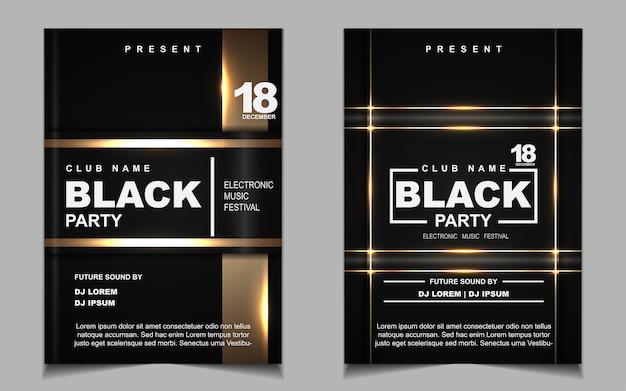 Черная и золотая ночная танцевальная вечеринка музыкальный флаер или дизайн плаката