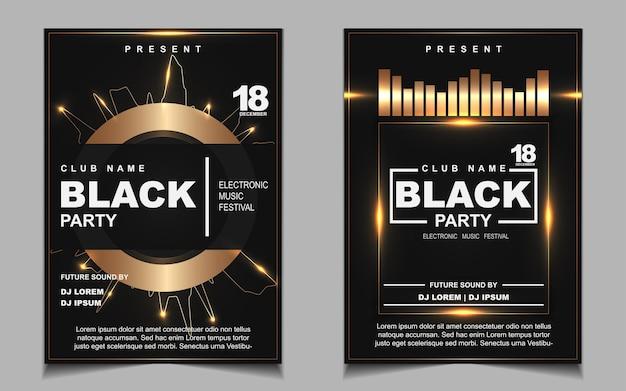 블랙과 골드 나이트 댄스 파티 음악 포스터
