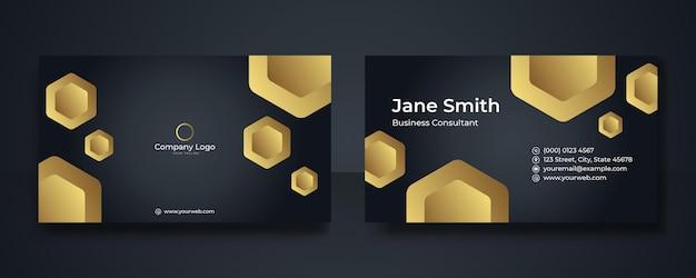 Роскошный черный и золотой дизайн визитной карточки премиум-класса. профессиональные шаблоны визитной карточки. элегантные абстрактные шаблоны карточек идеально подходят для вашего холдинга. набор шаблонов дизайна вектор