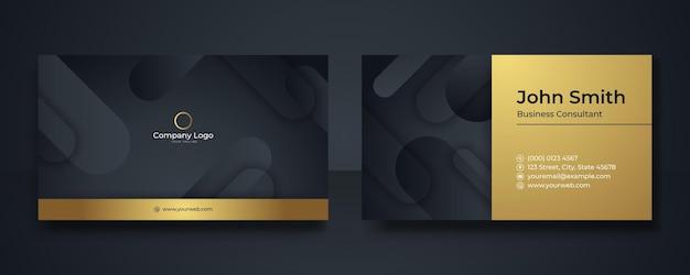 블랙과 골드 프리미엄 럭셔리 명함 디자인. 전문 템플릿 명함입니다. 지주 회사에 적합한 우아한 추상 카드 템플릿입니다. 벡터 디자인 템플릿 세트