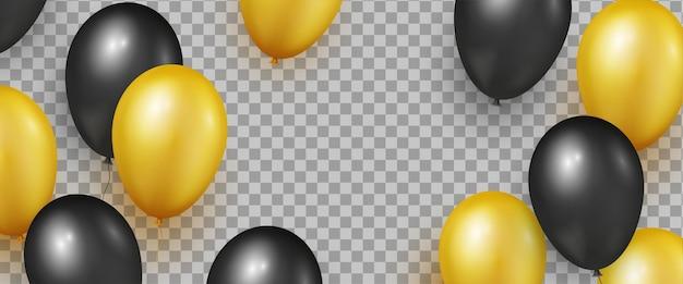 Черные и золотые реалистичные глянцевые шары для баннеров черной пятницы