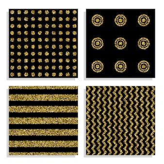 Набор черный и золотой бесшовные шаблоны