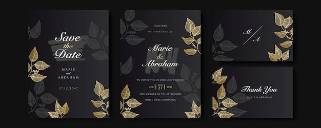 Набор шаблонов приглашения на свадьбу черный и золотой. набор абстрактных цветочный дизайн фона. роскошные обои в современном стиле с художественным цветком и ботаническими листьями, органические формы