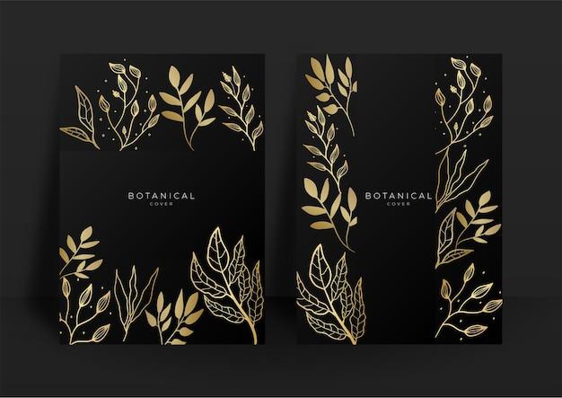 黒と金の結婚式の招待状のテンプレートセット。抽象的な花柄の背景セット。アートの花と植物の葉、有機的な形の豪華なモダンなスタイルの壁紙