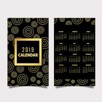 Black and Golden 2019 Pattern Calendar Designs
