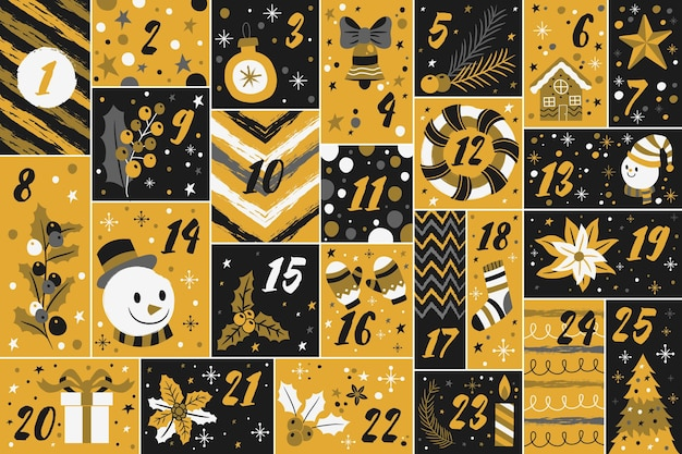 Черно-золотой адвент-календарь