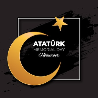 검은 색과 황금색 아타튀르크 기념일