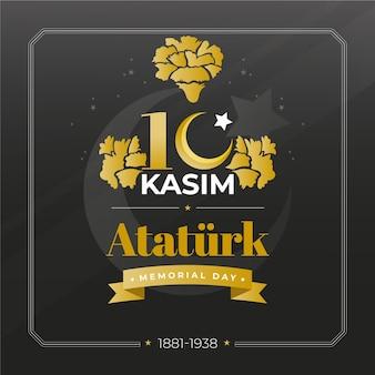 黒と金色のアタチュルク記念日