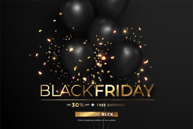 Черная и золотая черная пятница продажа реалистичный баннер