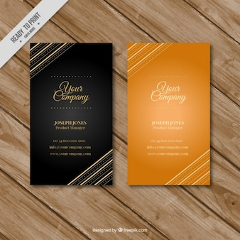 Black and golden business cards