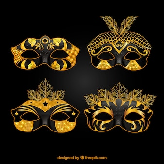 Black and golden carnival mask collection