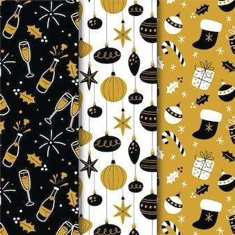 Коллекция черно-золотых рождественских узоров