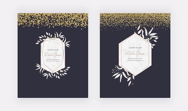 Карты конфетти с черным и золотым блеском с геометрическими рамками