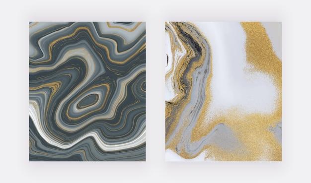 검은 색과 황금색 반짝이 잉크 그림 액체 대리석 질감.