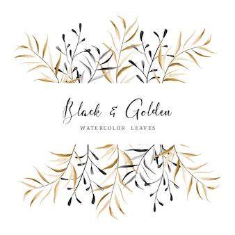 黒と金箔のデザイン要素