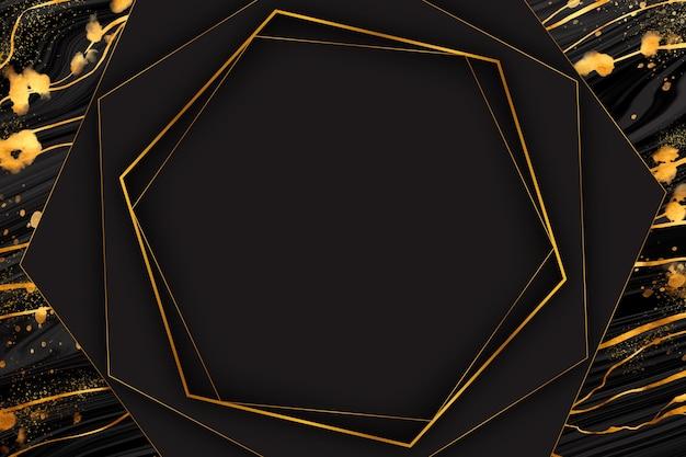 Черно-золотая мраморная рамка