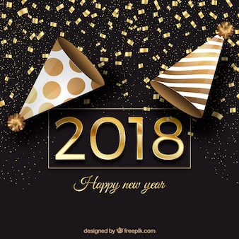 Black and golden new year background with party caps and confetti